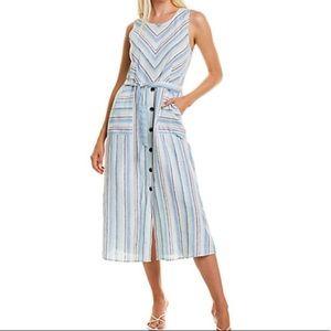 NWT Vince Camuto Linen V Neck Striped Midi Dress L